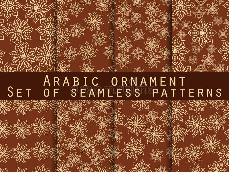 Arabic pattern. Islamic ornament. Set of seamless patterns. For wallpaper, bed linen, tiles, fabrics, backgrounds. royalty free illustration