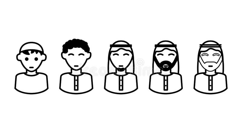 Arabic People ages icons , illustration. Arabic People ages icons, illustration, isolated on white stock illustration