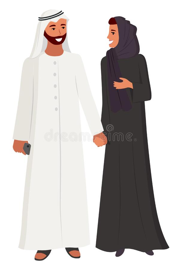 Arabic People Couple Man and Woman Wearing Hijab royalty free illustration