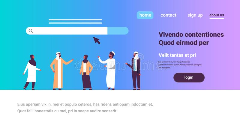 Arabic people over search online internet browsing web concept website WWW bar graphic flat horizontal copy space royalty free illustration