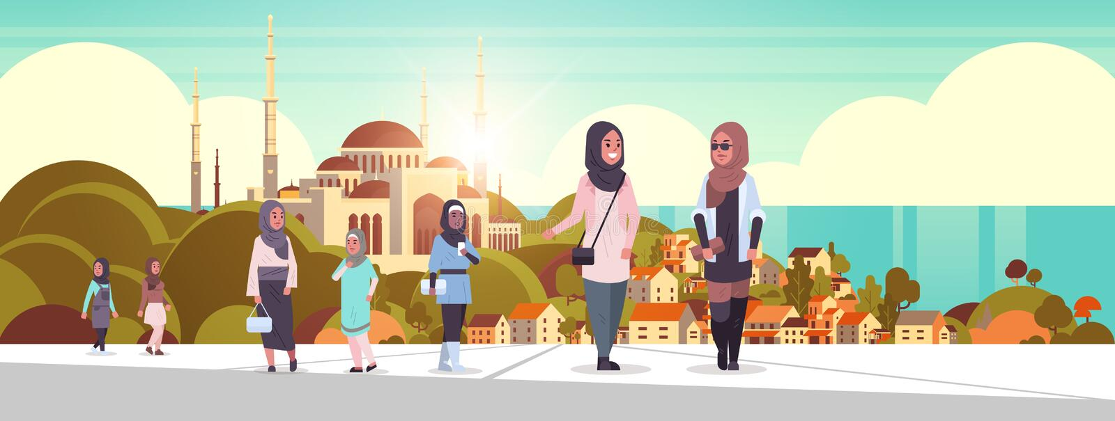 Arabic people walking outdoor arab women wearing traditional clothes arabian cartoon characters over nabawi mosque stock illustration
