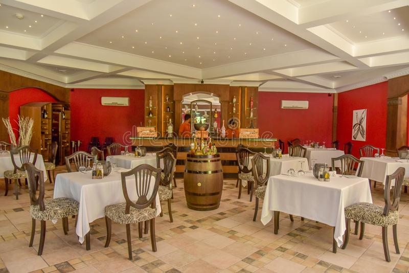 Arabic restaurant interior with tables and chairs at the tropical resort stock photo