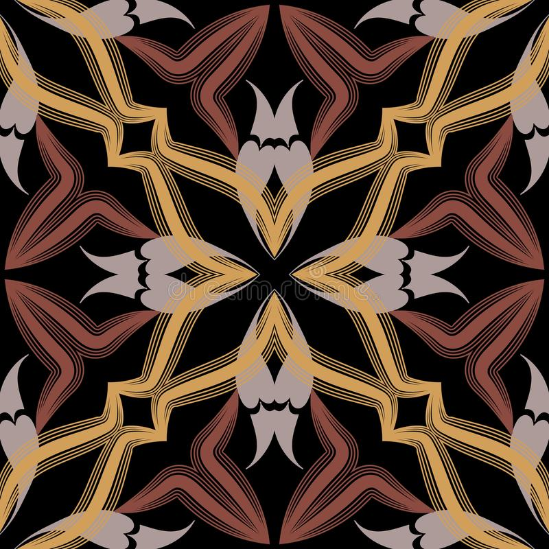Arabic seamless pattern. Vector ornamental arabesque background. Ornate decorative backdrop in beige brown colors. Floral vintage royalty free illustration