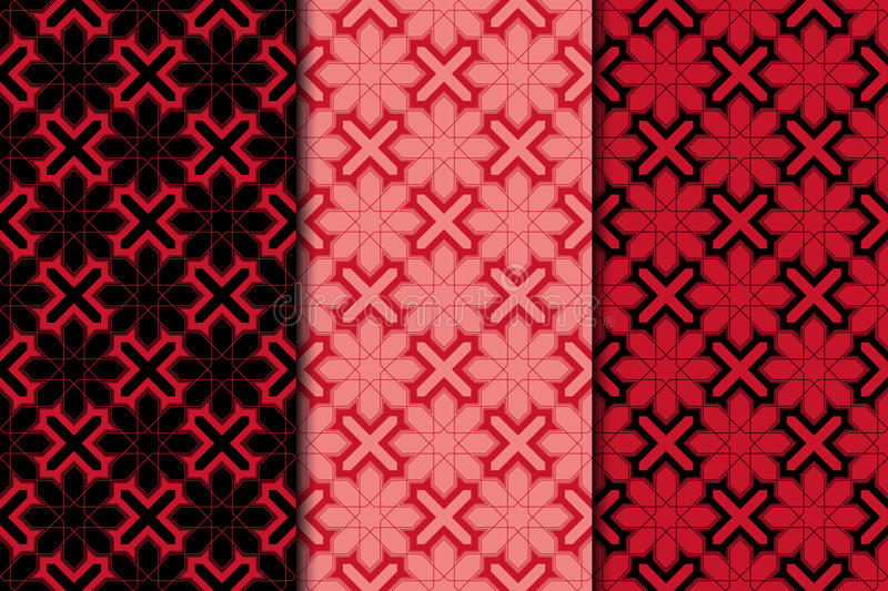 Arabic seamless patterns. Black and red ornaments for textile and fabric stock illustration