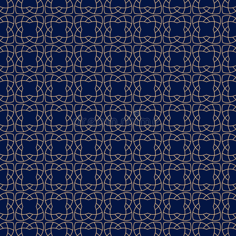 Arabic seamless patterns. Blue and golden ornaments for textile and fabric stock illustration