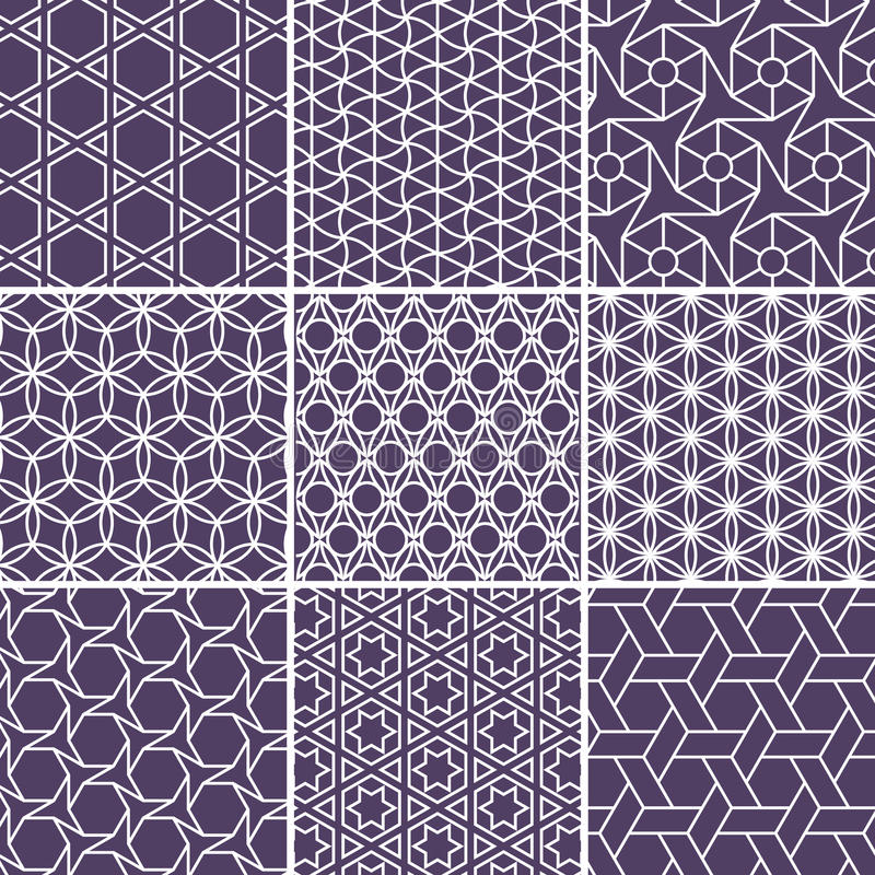 Arabic seamless patterns set from simple geometric shapes. Islam vector ornament stock illustration