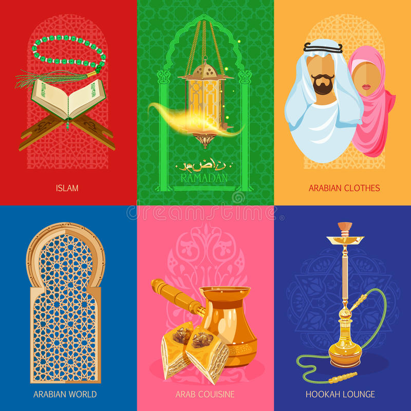 Arabic set. Of colorful posters royalty free illustration