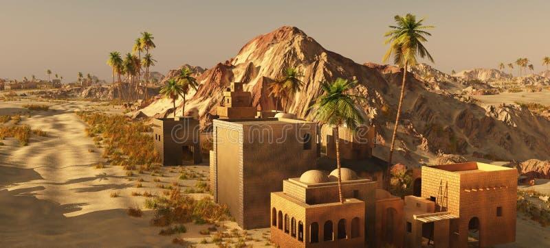 Arabic small town on desert, 3d rendering vector illustration