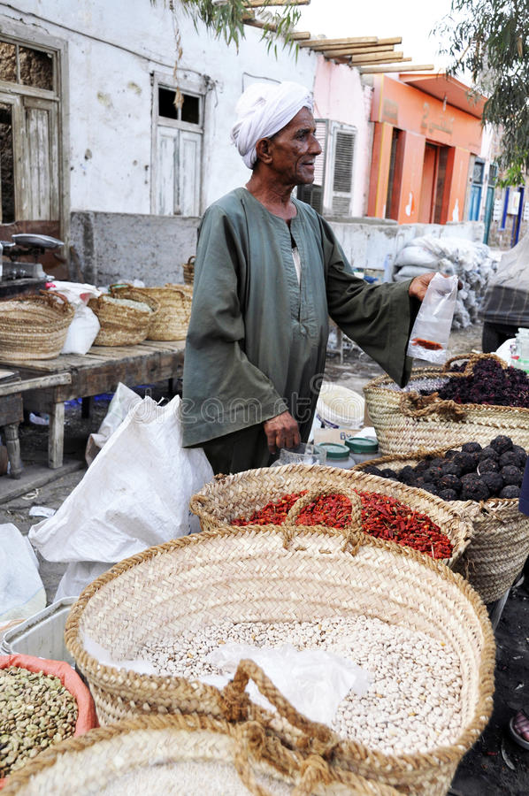Arabic spice market. An arab spice seller in a outoor market - Egypt royalty free stock image