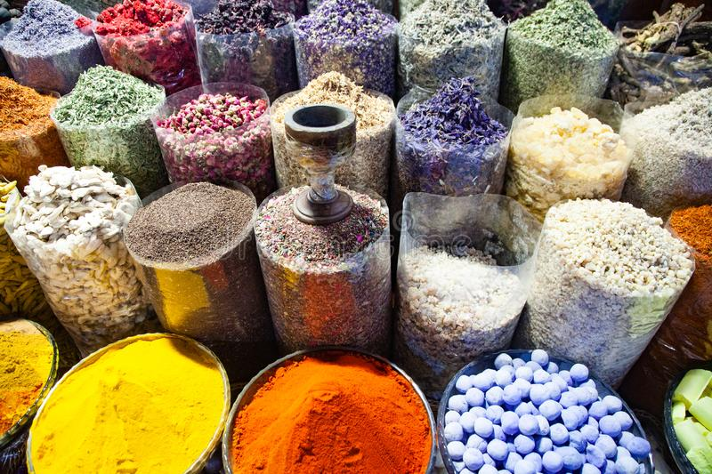 arabic Spices at the market Souk Madinat Jumeirah in Dubai, UAE stock photography