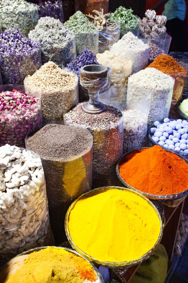 arabic Spices at the market Souk Madinat Jumeirah in Dubai, UAE royalty free stock photography