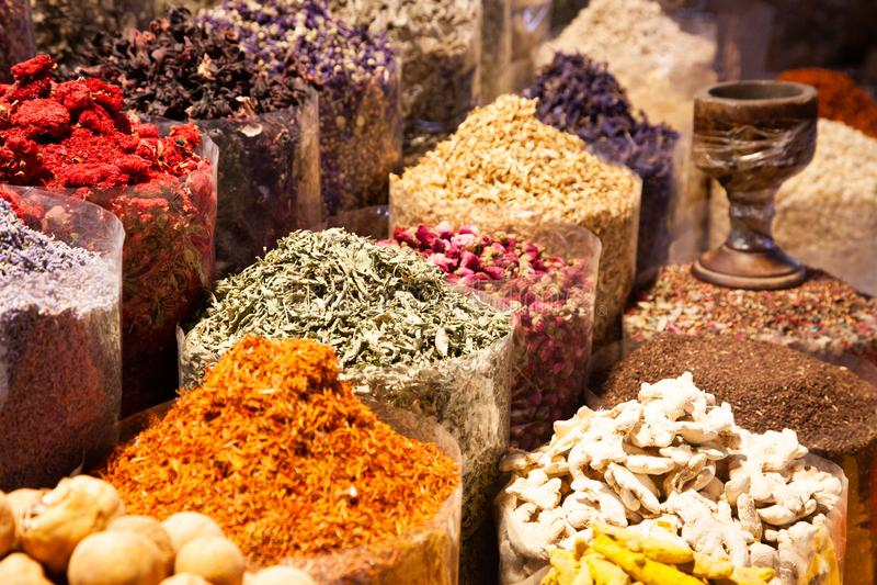 arabic Spices at the market Souk Madinat Jumeirah in Dubai, UAE royalty free stock photo