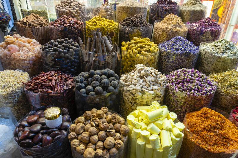 Arabic spices for sale in a market in Dubai royalty free stock photo