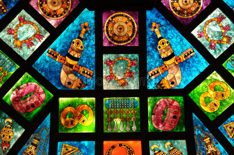 Arabic Stained Glass. Omani Stained Glass from Market in Muscat, Oman stock photography