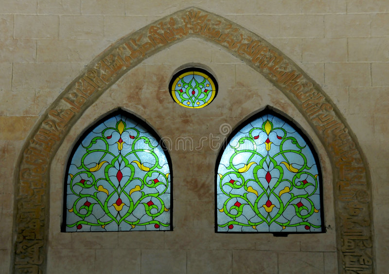 Arabic stained glass windows stock photography
