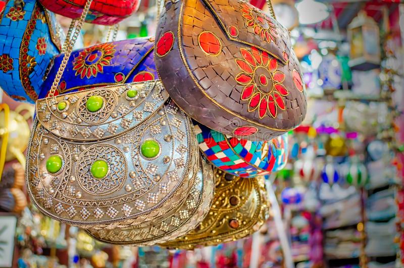 Traditional Arabic style ladies` bags on display. Arabic style ladies` bags on display in the shop - Muscat, Oman stock photo