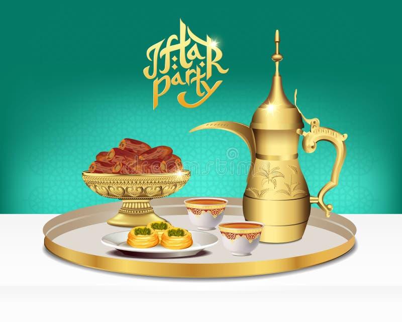 Arabic tea set with bowl of dates. Ramadan iftar party food. 3d vector illustration stock illustration
