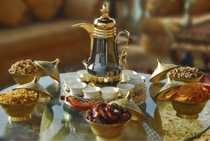 arabic tea setup stock images