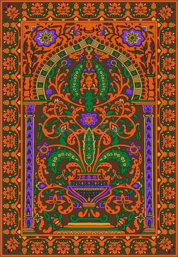Arabic tile fresca flower orange royalty free illustration