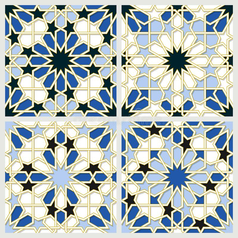 Arabic tiles seamless pattern. Arabic tile pattern. Different designs of tiles based on islamic traditional art. All elements sorted and grouped in layers royalty free illustration