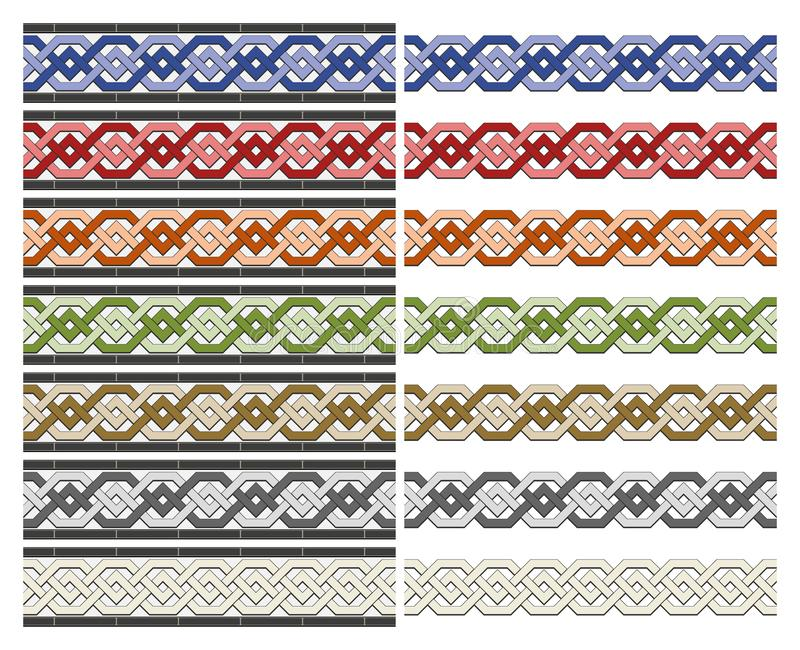Arabic tiles seamless pattern. Arabic tile pattern. Different designs of horizontal seamless borders based on islamic traditional art. All elements sorted and royalty free illustration