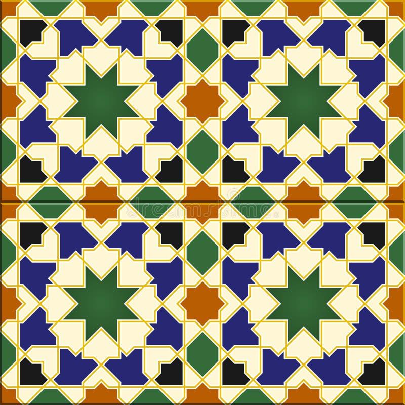 Arabic tiles seamless pattern. Havana, Cuba stock illustration
