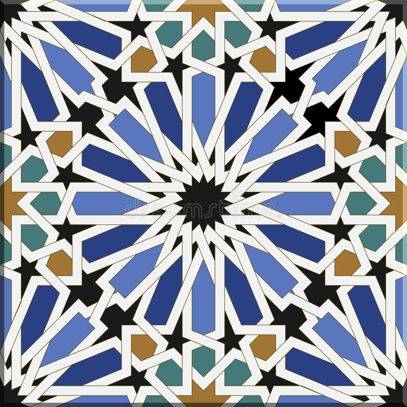 Arabic tiles seamless pattern. Seville, Spain. stock illustration