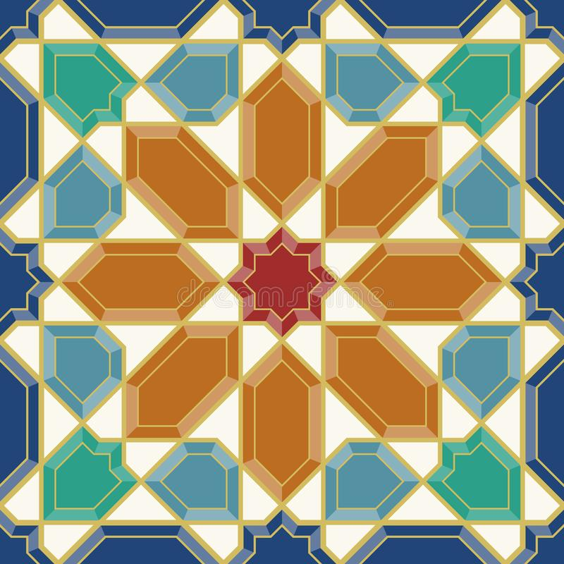 Arabic tiles seamless pattern. Arabic tile pattern. Design of a tile based on islamic traditional art. All elements sorted and grouped in layers stock illustration
