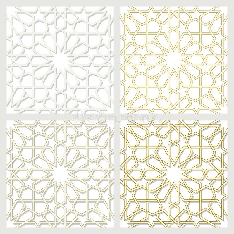Arabic tiles seamless pattern. Arabic tile pattern. Different designs of tiles based on islamic traditional art. All elements sorted and grouped in layers vector illustration