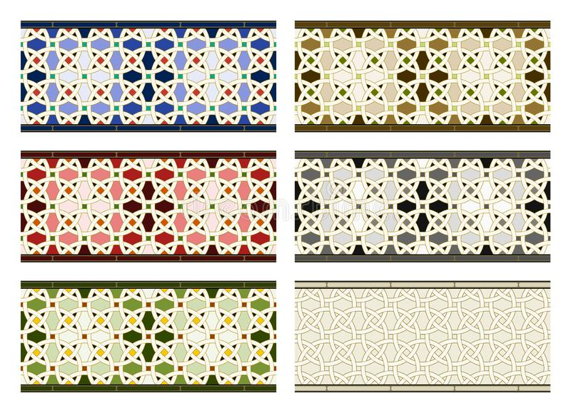Arabic tiles seamless pattern. Arabic tile pattern. Different designs of horizontal seamless borders based on islamic traditional art. All elements sorted and vector illustration
