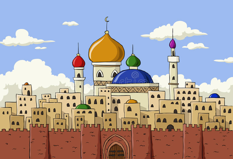 Arabic town. Cartoon background of Arab town, vector