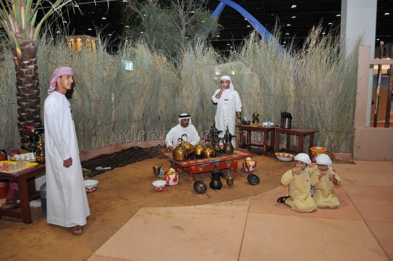 Arabic Traditional Coffee Shop in Abu Dhabi International Hunting and Equestrian Exhibition (ADIHEX). 2013 royalty free stock image