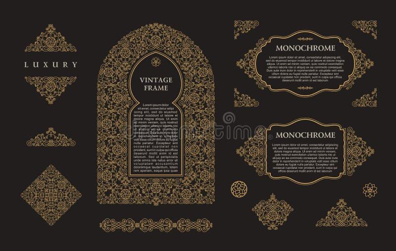 Arabic vector set of frames lines art design templates. Muslim gold outline elements and emblems stock illustration