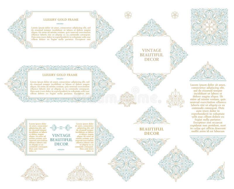 Arabic vector set of frames lines art design templates. Muslim gold outline elements and emblems royalty free illustration