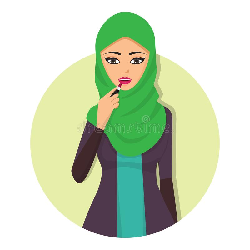 Arabic woman adult character Arabian Asia nationality islamic girl face in hijab vector illustration royalty free illustration