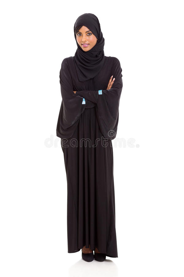 Arabic woman arms crossed stock photo