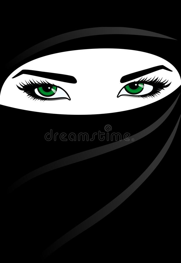 Arabic woman. With green eyes stock illustration