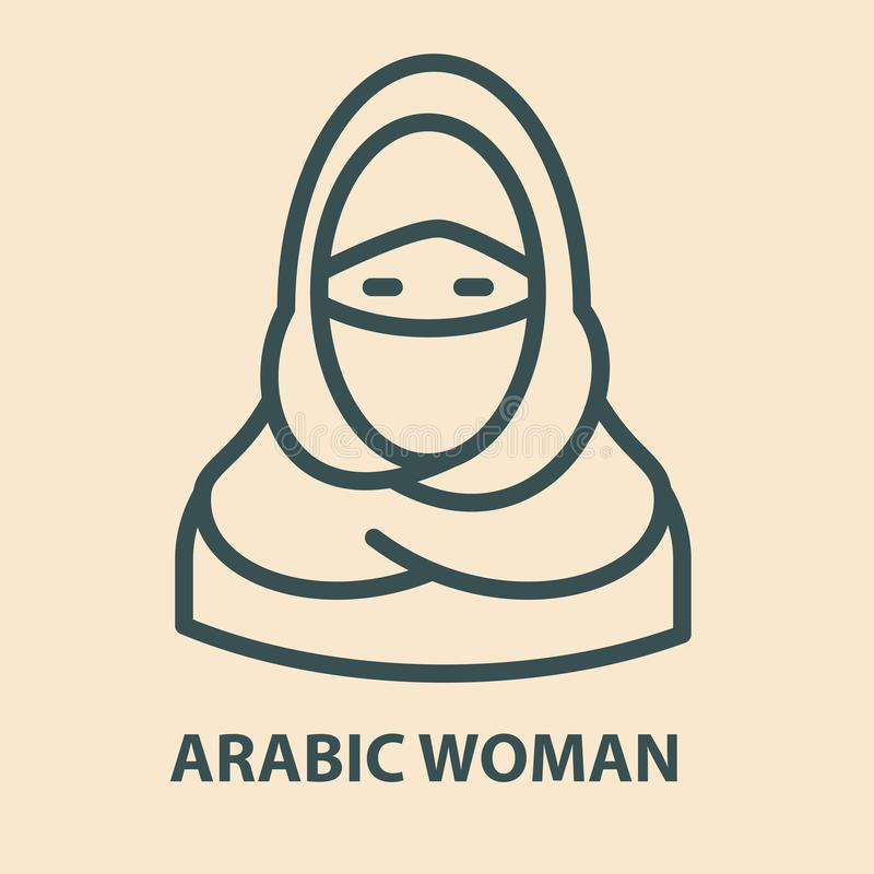 Arabic woman in linear style vector illustration