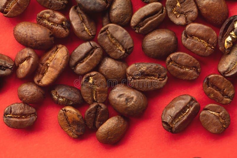 Arabica φασόλια καφέ στο κόκκινο υπόβαθρο στοκ φωτογραφίες