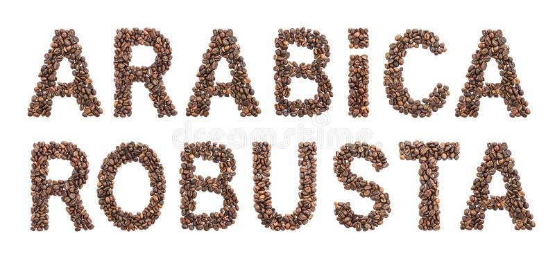 Arabica i Robusta słowa robić od piec kawowych fasoli odizolowywać na białym tle fotografia royalty free