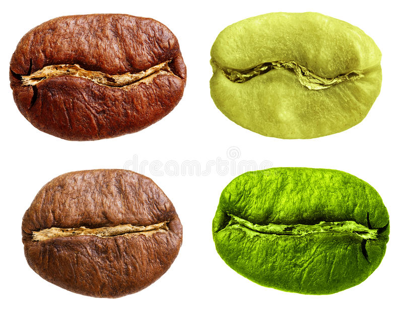 Arabica nera e verde, chicco di caffè robusta fotografia stock