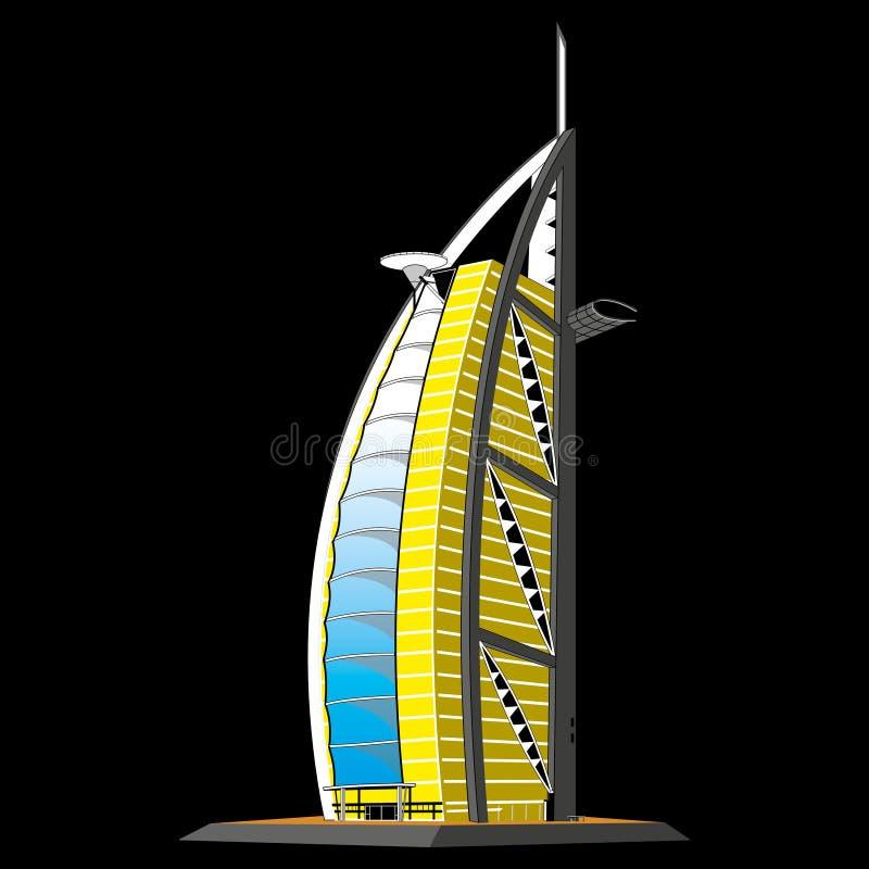 Arabisch Al van Burj van het hotel, Doubai stock illustratie