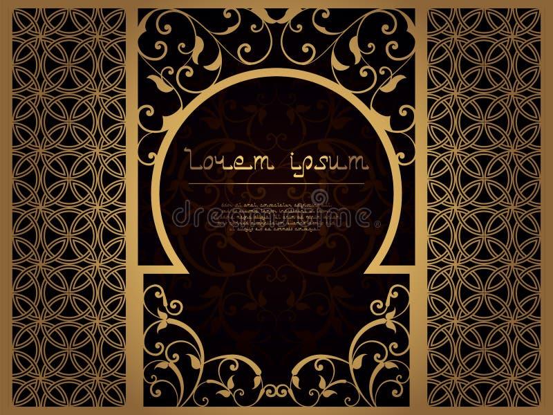 Arabisch bloemkader voor laserknipsel Paginasjabloon voor menu, groetkaart, restaurant, huwelijksuitnodiging Interroom royalty-vrije illustratie