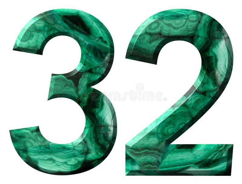 Arabisch cijfer 32, tweeëndertig, van natuurlijk groen die malachiet, op witte achtergrond wordt geïsoleerd royalty-vrije illustratie