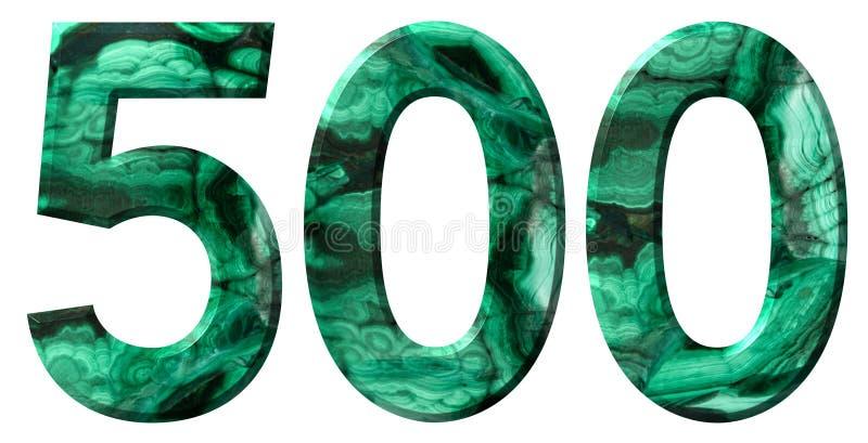 Arabisch cijfer 500, vijf honderd, van natuurlijk groen die malachiet, op witte achtergrond wordt geïsoleerd royalty-vrije stock fotografie
