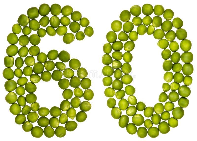 Arabisch cijfer 60, zestig, van groene die erwten, op witte bac worden geïsoleerd stock afbeeldingen