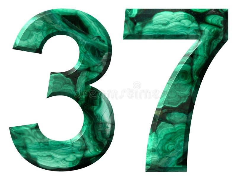Arabisch cijfer 37, zevenendertig, van natuurlijk groen die malachiet, op witte achtergrond wordt geïsoleerd royalty-vrije illustratie