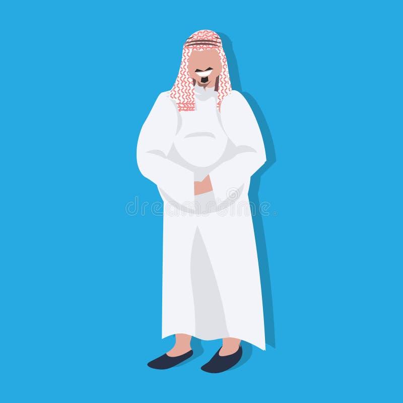 Arabisch dik bedrijfsmensenpictogram die traditioneel avatar van het het beeldverhaalkarakter van de kleren Arabisch zakenman man stock illustratie