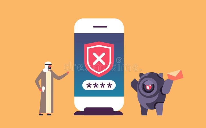 Arabisch mensen onjuist wachtwoord die bot de veiligheidsapp van de smartphonecontrole de mobiele horizontale vlakte van het toeg royalty-vrije illustratie