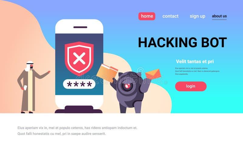 Arabisch mensen onjuist wachtwoord die bot de veiligheidsapp van de smartphonecontrole de mobiele horizontale vlakte van het toeg vector illustratie